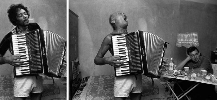 Джими Хендрикс, играющий на аккордеоне.