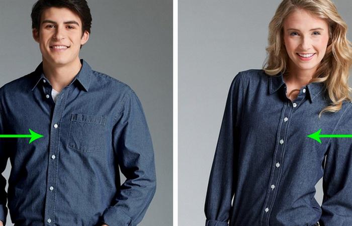 Пуговицы на женских и мужских рубашках находятся на противоположных сторонах.