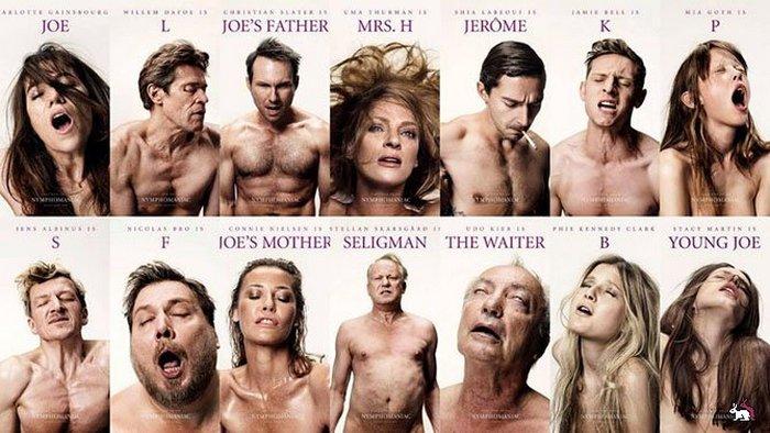 Смелые фотографии актеров на плакатах к фильму Нимфоманка.