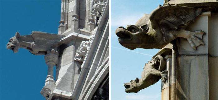 Гаргульи на храме Sint-Petrus-en-Pauluskerk в Остенде, Бельгия (слева) и на Ульмском соборе, Германия (справа).