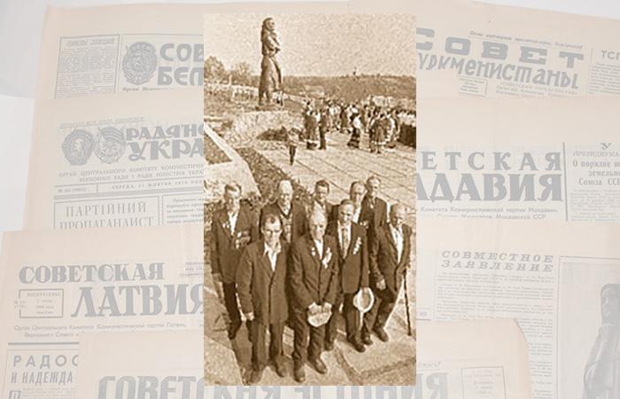Этот снимок был сделан после открытия памятника матери братьев – ветеранов Великой Отечественной Евдокии Лысенко в 1984 году. Их уже 9.