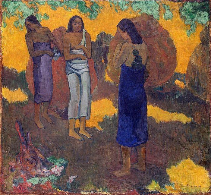 Три таитянки на желтом фоне. 1899 г. Санкт-Петербург. Государственный Эрмитаж.
