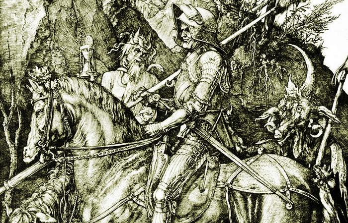 Гравюра Рыцарь, смерть и дьявол Альбрехта Дюрера.