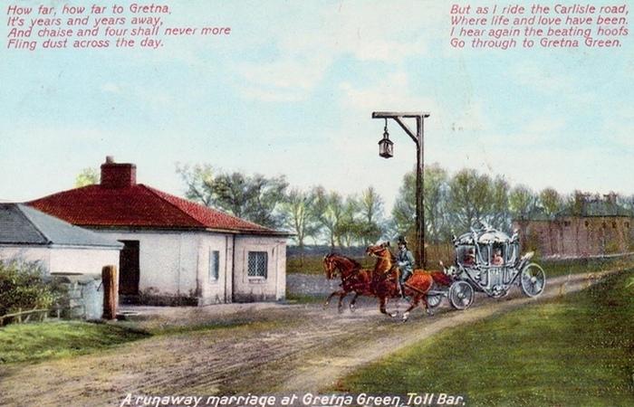Кузница в Гретна Грин на открытке 19-го века.