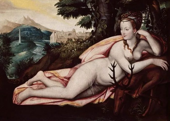 Идеализированный портрет Дианы де Пуатье. Французская школа-Фонтенбло.