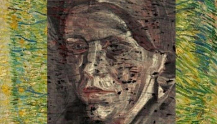 Картина выполнена синим и зеленым, а портрет коричневым  и красным цветами.