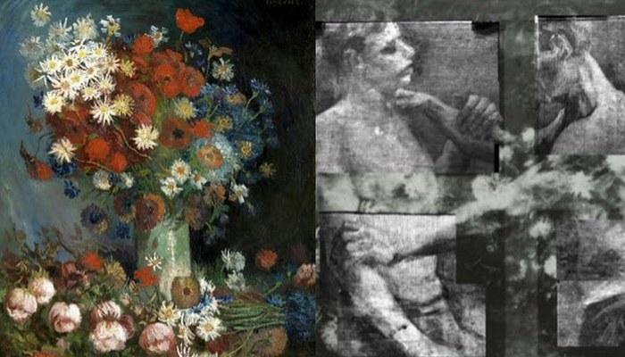 Художник рисовал изображения борцов, а после закрашивал их.