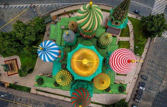 Храм Василия Блаженного. Вид сверху.