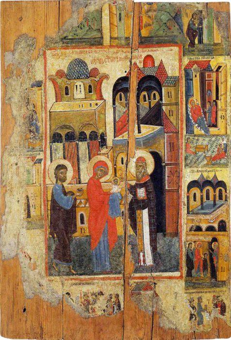 Иоаким и Анна с Марией в храме.