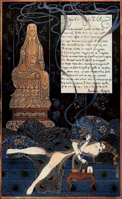 Романтичная иллюстрация, изображающая женщину, курящую опиум. Журнал Fantasio 1915 года.