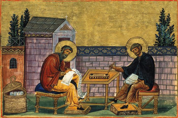 Преподобные Иоанн Дамаскин и святой Косьма. Иллюстрация из 'Минология Василия II'. Начало XI в. Ватикан.