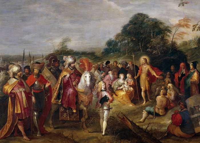 Фрагмент картины «Проповедь Иоанна Крестителя». Неизвестный художник, Музей Прадо.