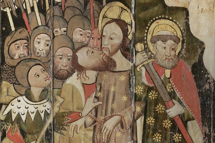 Поцелуй Иуды. Около 1460 года, Англия. Фрагмент. Музей Фицуильяма, Кембриджский университет, Кембридж, Великобритания.