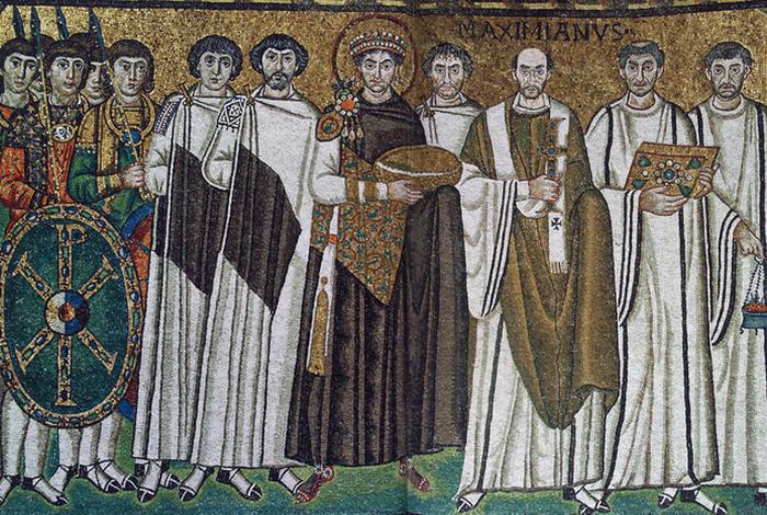 Император Юстиниан на древней мозаике. / Фото: vizkov.org