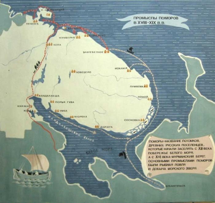 Карта промыслов поморов