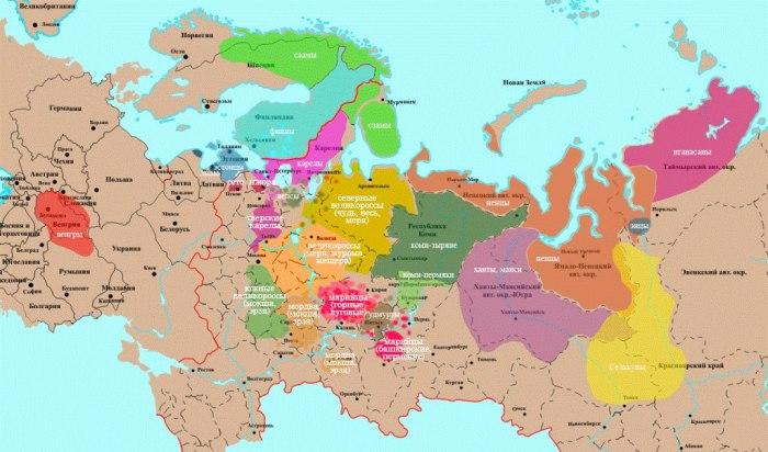 Ареалы современных и древних финно-угорских народов