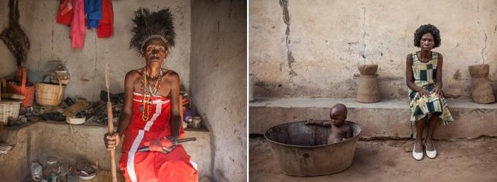 Елена Яксон: в образе шаманки и в миру со своей годовалой внучкой.