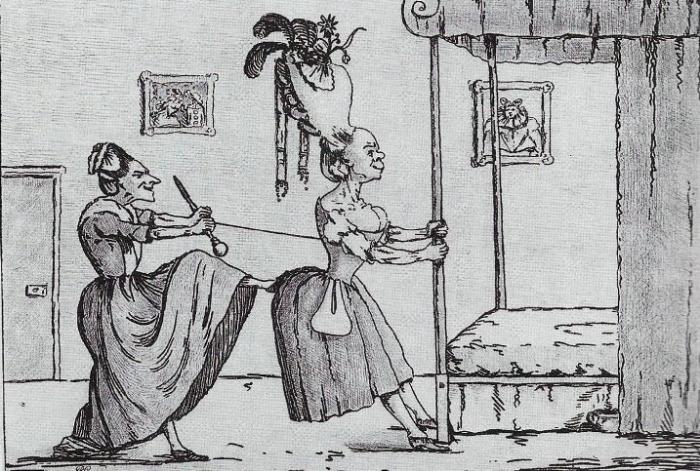 Дама, облачающаяся в корсет. Карикатура 18-го века.
