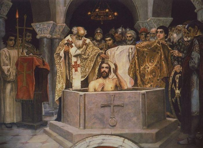 Крещение Владимира. Фреска В. М. Васнецова.