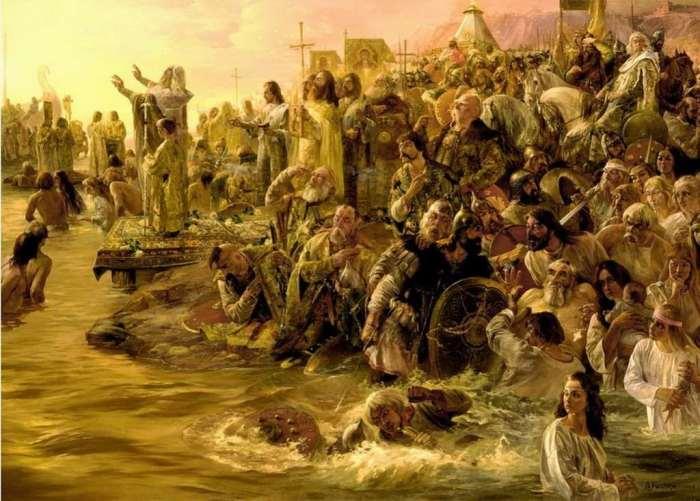 Вячеслав Назарук. Крещение киевлян. Начало Божественной литургии на берегах Днепра.