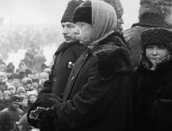 Н.К. Крупская на похоронах В.И. Ленина.