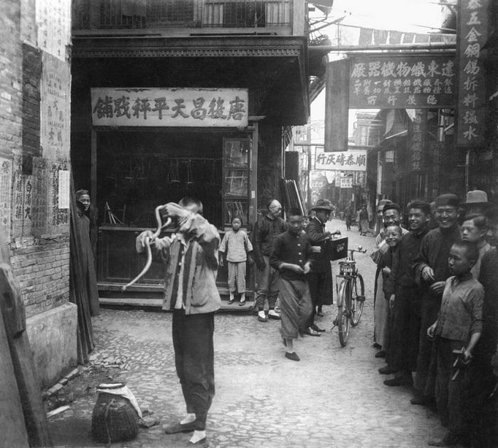 Заклинатель змей на шанхайской улочке.