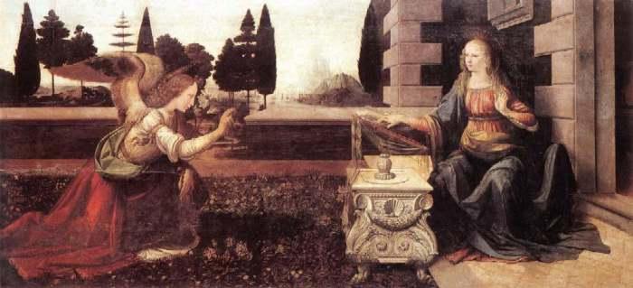 Леонардо да Винчи-Благовещение.