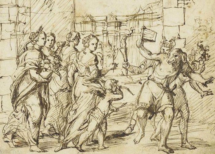 Фестиваль Луперкалии в Риме. Картина Адама Эльсхаймера (1578-1610).
