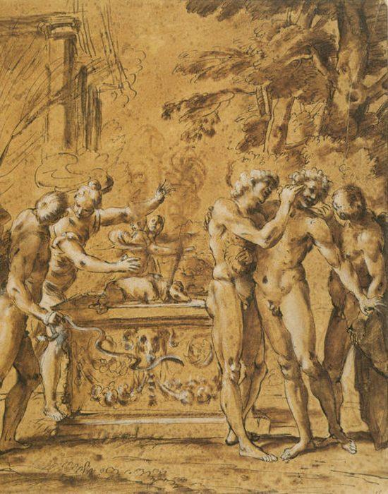 Иллюстрация к Луперкалиям и изображением алтаря.