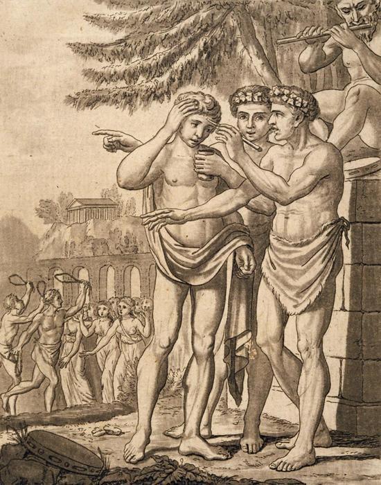 «Луперки» у алтаря мажут лоб жертвенной кровью.