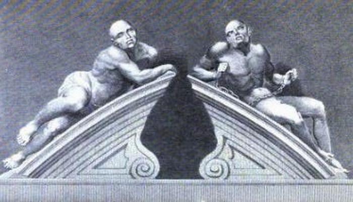 «Меланхолия» и «Буйное помешательство» работы Кая Габриэля Сиббера (1680).