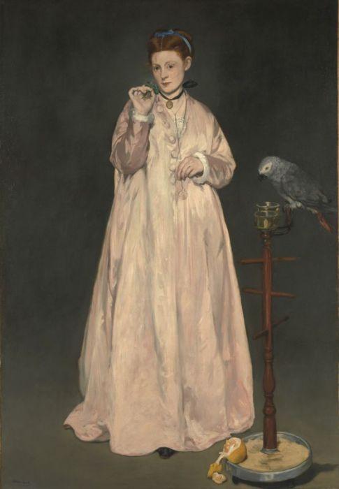 Викторина-Луиза Мёран на картине Мане *Женщина с попугаем*. Фото: Интернет