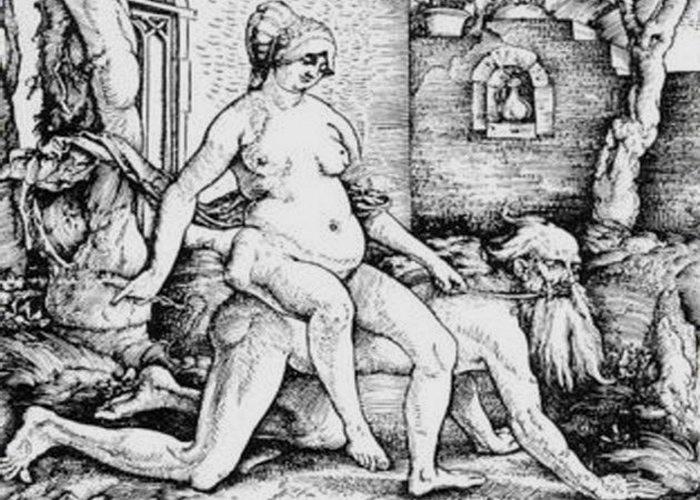 Средневековое искусство: женщины верхом на Аристотеле, как на пони.