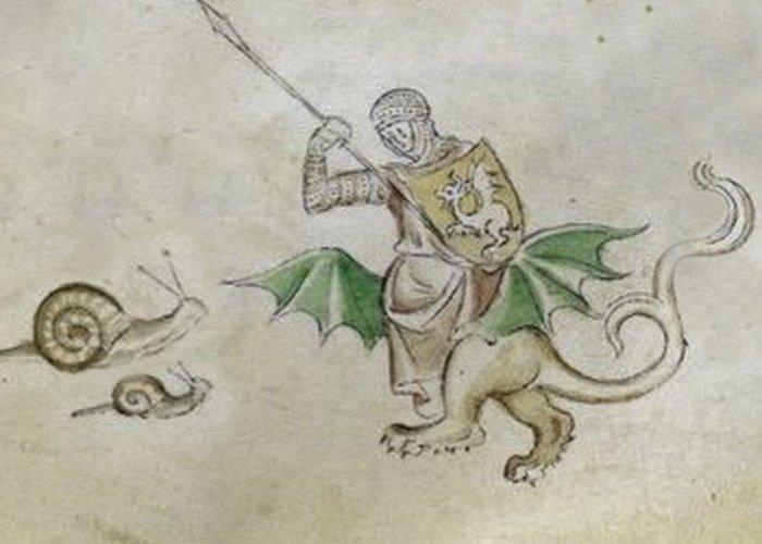 Средневековое искусство: рыцари, сражающиеся с улитками.