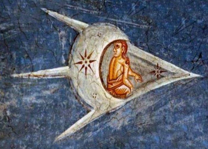 Средневековое искусство: люди в «космических кораблях».