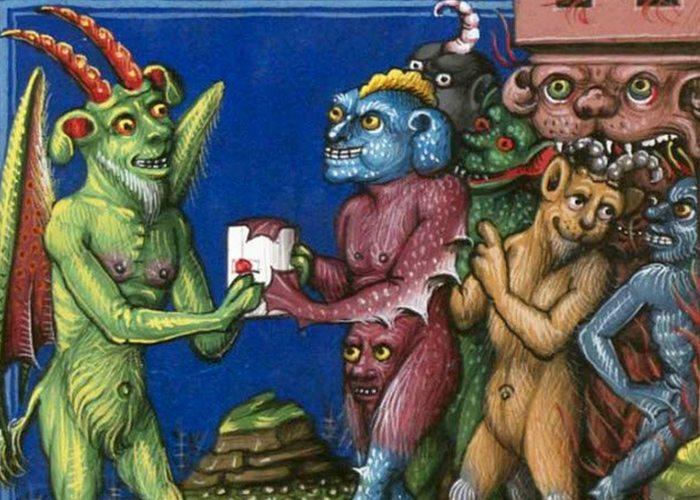 Средневековое искусство: демоны с лицами на промежности.