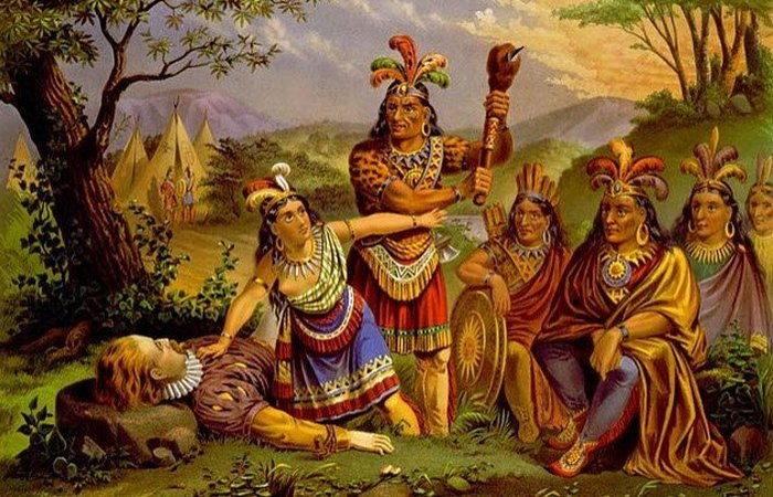 Покахонтас, спасающая Джона Смита./фото: listverse.com