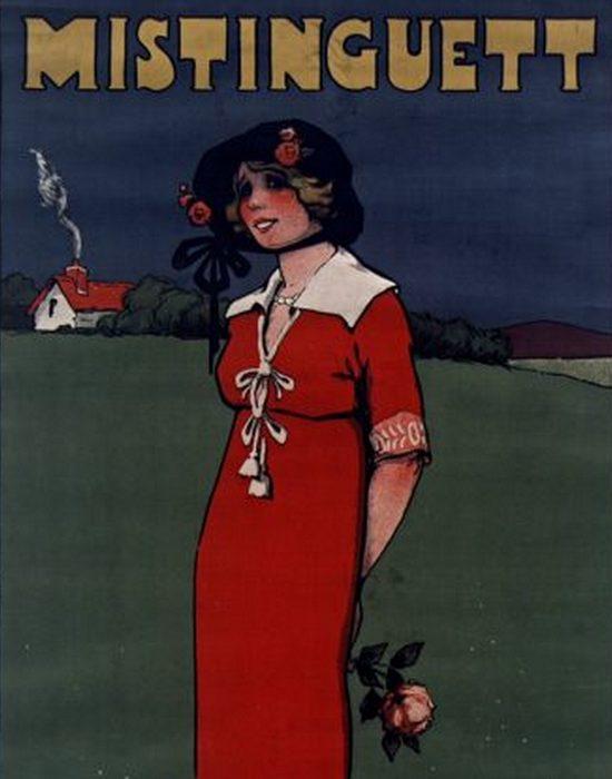 Плакат с Мистангет, 1911 год.