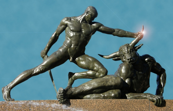 Тесей убивает Минотавра.