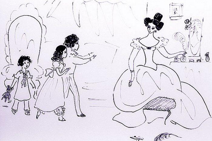 Рисунок Нади Рушевой �Н. Н. Пушкина с детьми�. Из цикла �Пушкиниана�. Перо. 1966 год.