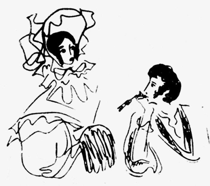 Пушкин с женой. Из цикла �Пушкиниана�. Перо. 1966 год.