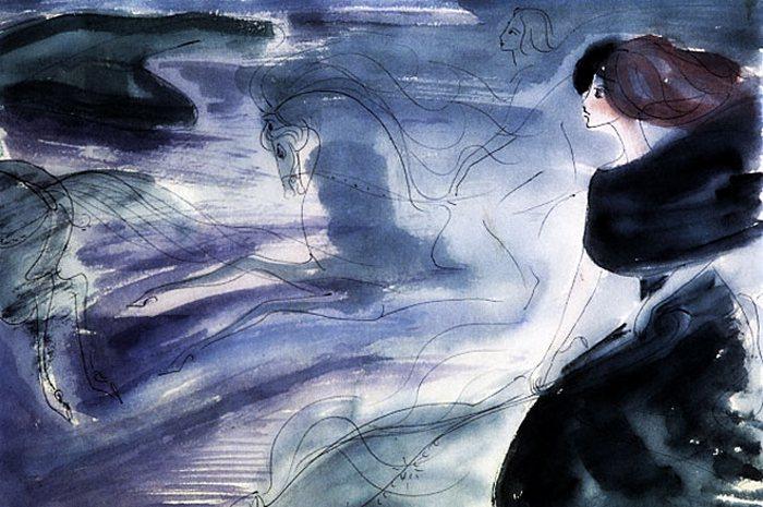 Репродукция рисунка Нади Рушевой к последней сцене романа М. Булгакова �Мастер и Маргарита�. (1968 год. 16 лет).