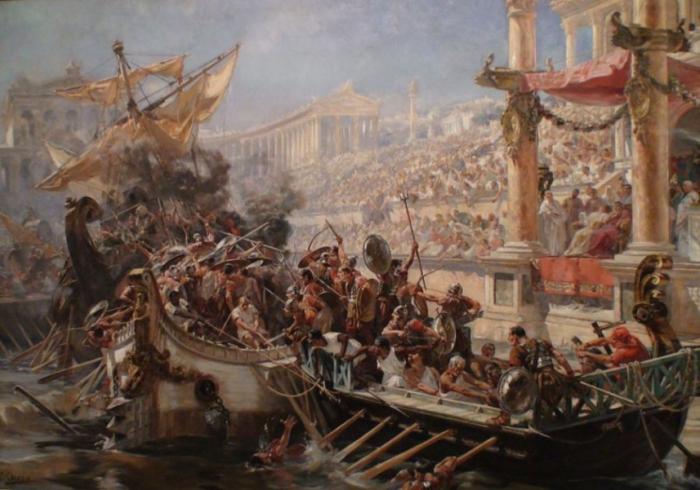 Навмахия - морское сражение в Колизее.