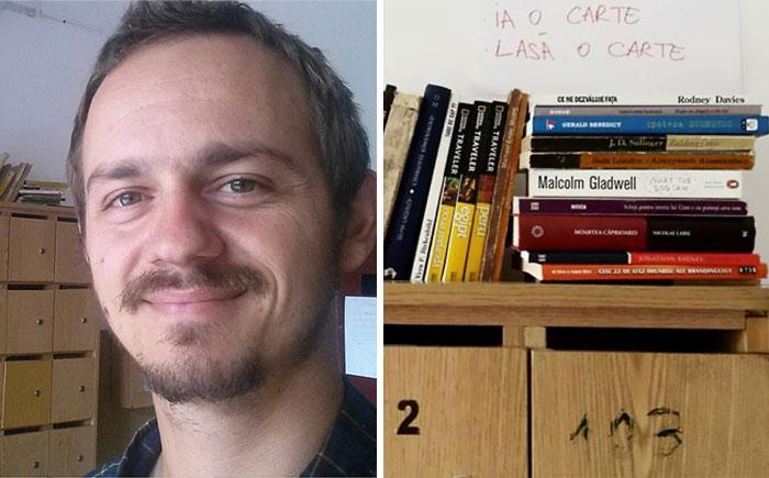 Виктор  Мирон - инициатор создания мини-библиотеки.