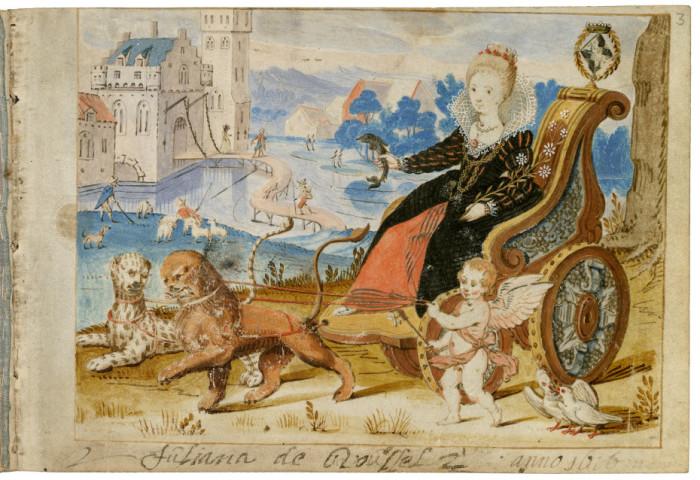 Одна из немногих дамских alba amicorum. Владелица Джулиана де Руссель.