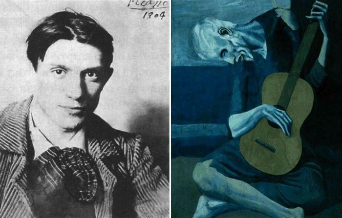 Побло Пикассо и его картина *Старый гитарист*