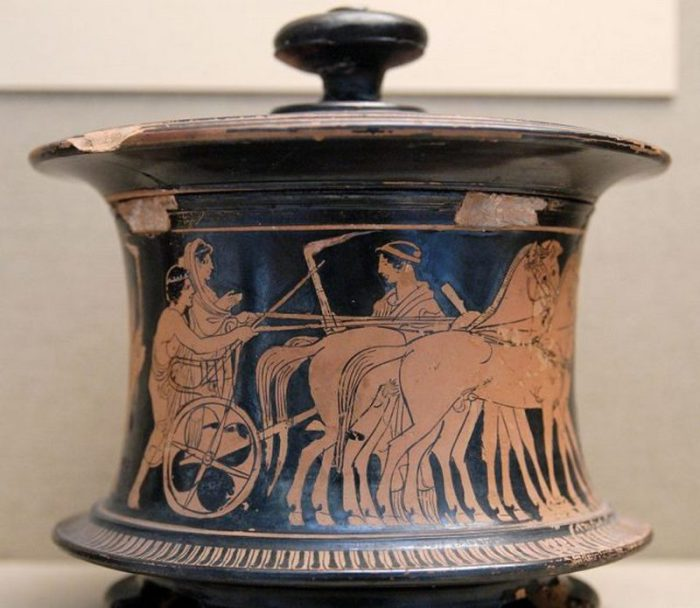 Аттическая шкатулка Pyxis, 440-430 годы до н.э.  Британский музей