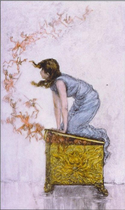 Пандора пытается закрыть крышку, которую она открыла из любопытства. Слева несчастья насмехаются над ней, улетая в мир. Гравировка по картине Фредерика Стюарта Чёрча.