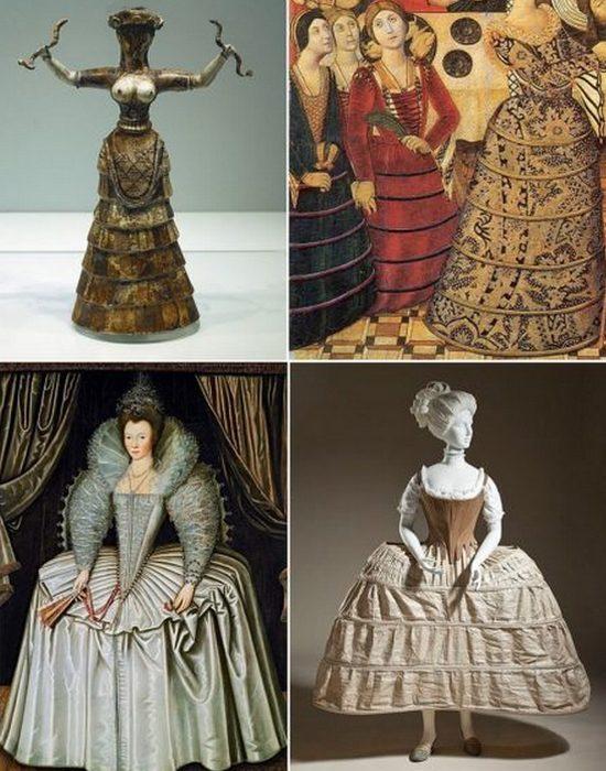 Исторические юбки с обручами.