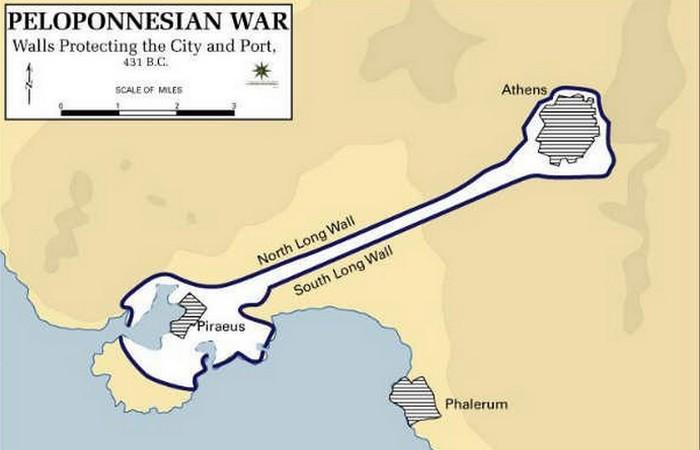 Оборонительные стены от Афин до порта Пирей. фото:list25.com